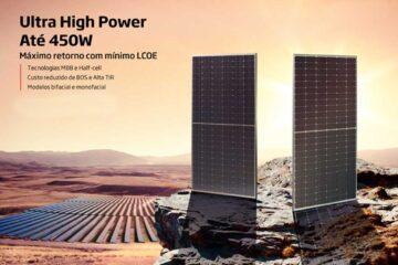 Painéis solares 450W. A tecnologia e potência dos painéis solares continuam crescendo, gigante chinesa lança painéis com maior eficiência.