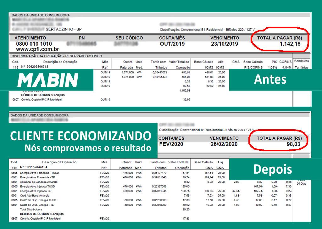 Energia Solar funciona? MABIN comprova resultados | Projeto Sertãozinho/SP | 10,05 kWp - Veja o antes e o depois da conta de energia de um cliente MABIN.