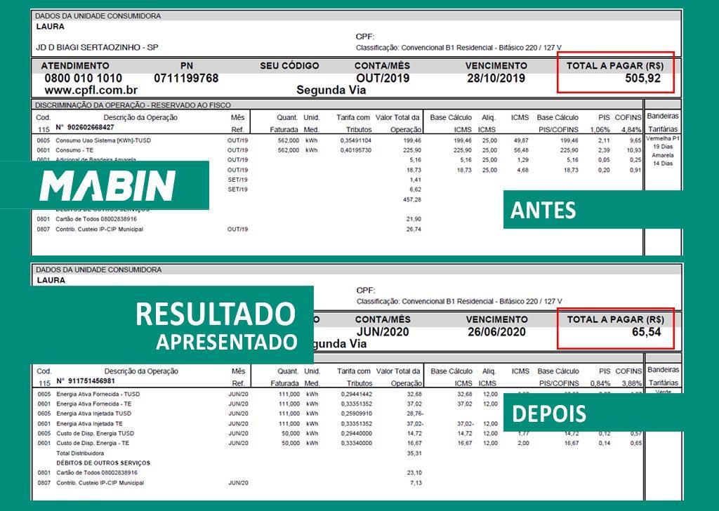 MABIN comprova resultados | Projeto Sertãozinho/SP | 10,05 kWp – Veja o antes e o depois da conta de energia de um cliente MABIN.