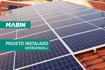 MABIN Projetos, obra entregue em Sertãozinho/SP, projeto com capacidade instalada de 15,40 kWp, 35 módulos Risen 400W e 02 inversores 10kWp e 5kWp Renovigi