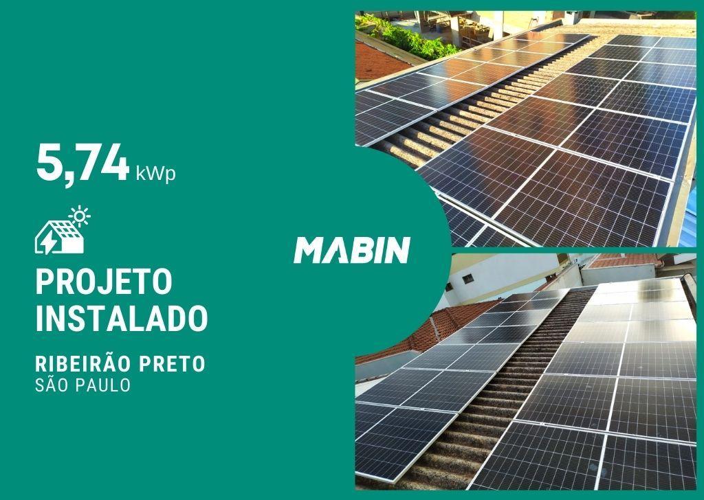 MABIN Projetos, energia solar entregue em Ribeirão Preto/SP, projeto com capacidade instalada de 5,74kWp, 14 módulos 410W e 01 inversor 5kWp.