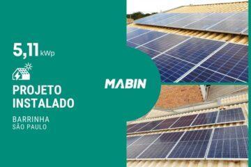 MABIN Projetos, obra entregue em Barrinha/SP, projeto com capacidade instalada de 5,11 kWp, 14 módulos 365W e 01 inversor 4kWp