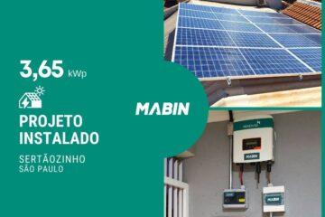 MABIN Projetos, energia solar entregue em Sertãozinho/SP, projeto com capacidade instalada de 3,65kWp, 10 módulos 365W e 01 inversor 3kWp