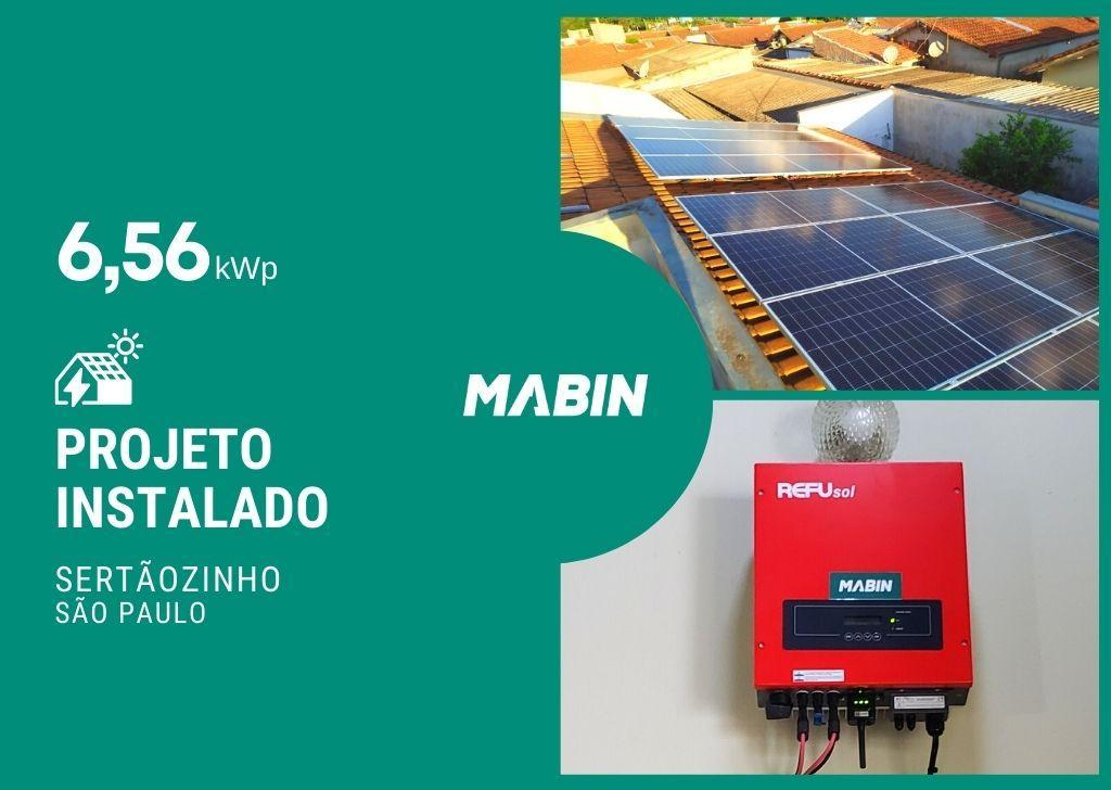 MABIN Projetos, energia solar entregue em Sertãozinho/SP, projeto com capacidade instalada de 6,56kWp, 16 módulos 410W e 01 inversor 7,5kWp.
