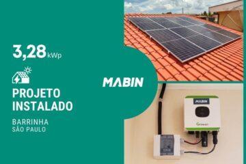 MABIN Projetos, energia solar entregue em Barrinha/SP, projeto com capacidade instalada de 3,28kWp, 8 módulos 410W e 01 inversor 3kWp.