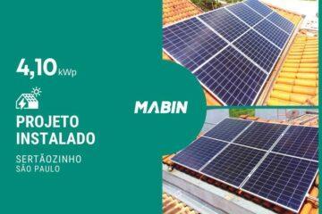 MABIN Projetos, energia solar entregue em Sertãozinho/SP, projeto com capacidade instalada de 4,10kWp, 10 módulos 410W e 01 inversor 3kWp.
