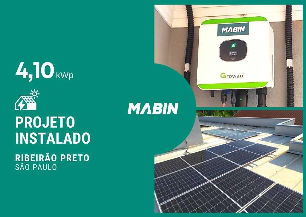 MABIN Projetos, energia solar entregue em Ribeirão Preto/SP, projeto com capacidade instalada de 4,10kWp, 10 módulos 410W e 01 inversor 3kWp.