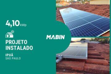 MABIN Projetos, energia solar entregue em Ipuã/SP, projeto com capacidade instalada de 4,10kWp, 10 módulos 410W e 01 inversor 3kWp.
