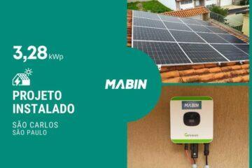 MABIN Projetos, energia solar entregue em São Carlos/SP, projeto com capacidade instalada de 3,28kWp, 08 módulos 410W e 01 inversor 3kWp.