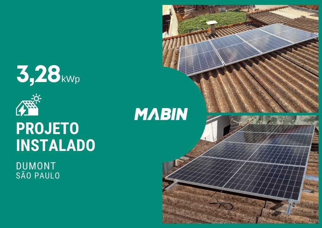 MABIN Projetos, energia solar entregue em Dumont/SP, projeto com capacidade instalada de 3,28kWp, 08 módulos 410W e 01 inversor 3kWp.