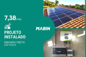 MABIN Projetos, energia solar entregue em Ribeirão Preto/SP, projeto com capacidade instalada de 7,38kWp, 18 módulos 410W e 01 inversor 6kWp