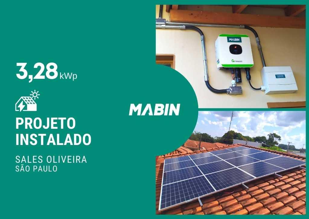 MABIN Projetos, energia solar entregue em Sales Oliveira/SP, projeto com capacidade instalada de 3,28kWp, 08 módulos 410W e 01 inversor 3kWp