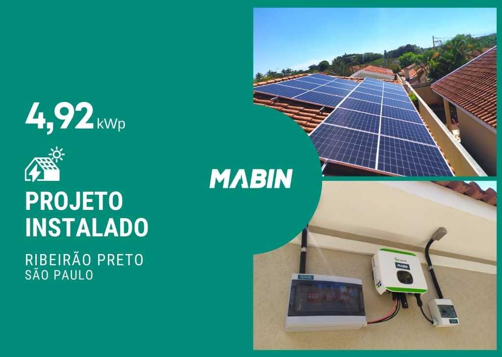 MABIN Projetos, energia solar entregue em Ribeirão Preto/SP, projeto com capacidade instalada de 4,92kWp, 12 módulos 410W e 01 inversor 5kWp
