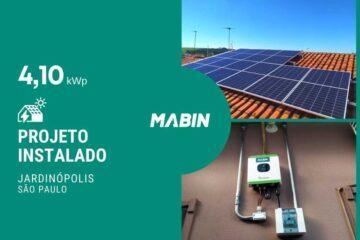 MABIN Projetos, energia solar entregue em Jardinópolis/SP, projeto com capacidade instalada de 4,10kWp, 10 módulos 410W e 01 inversor 3kWp