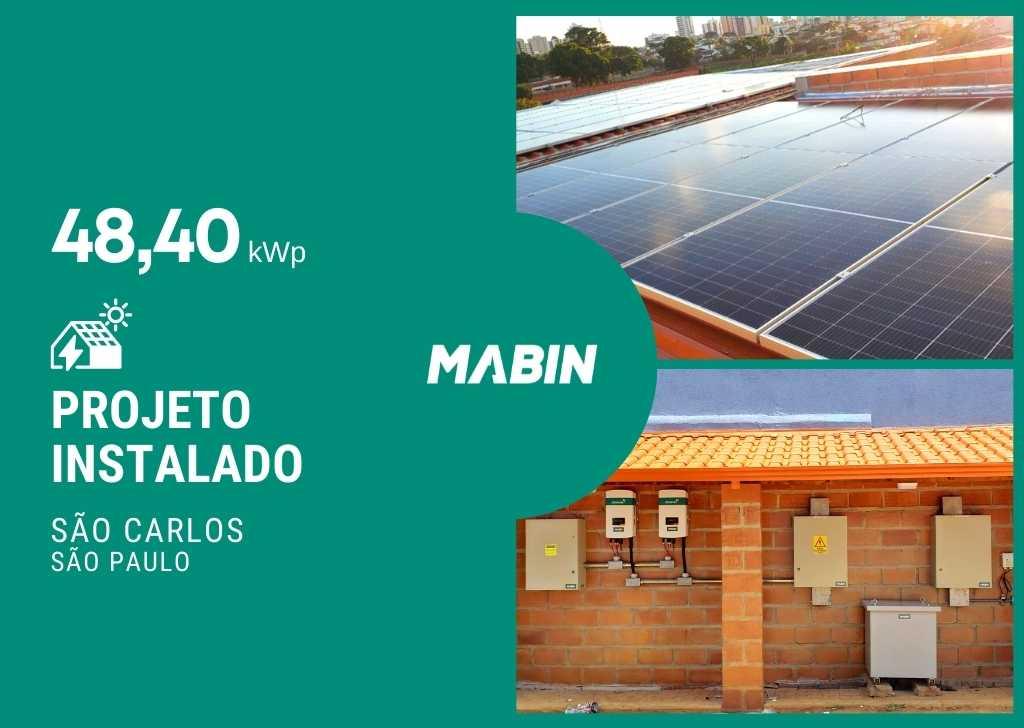 MABIN Projetos, energia solar entregue em São Carlos/SP, projeto com capacidade instalada de 48,40kWp, 110 módulos 440W e 02 inversores 20kWp