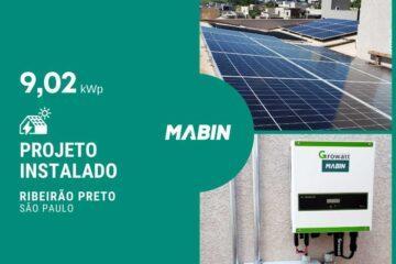 MABIN Projetos, energia solar entregue em Ribeirão Preto/SP, projeto com capacidade instalada de 9,02kWp, 22 módulos 410W e 01 inversor 8kWp