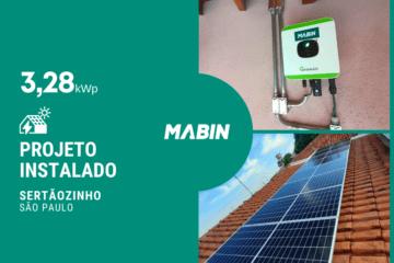 Energia solar em Sertãozinho/SP, projeto realizado pela MABIN com capacidade instalada de 3,28kWp, 08 módulos 410W e 01 inversor 3kWp