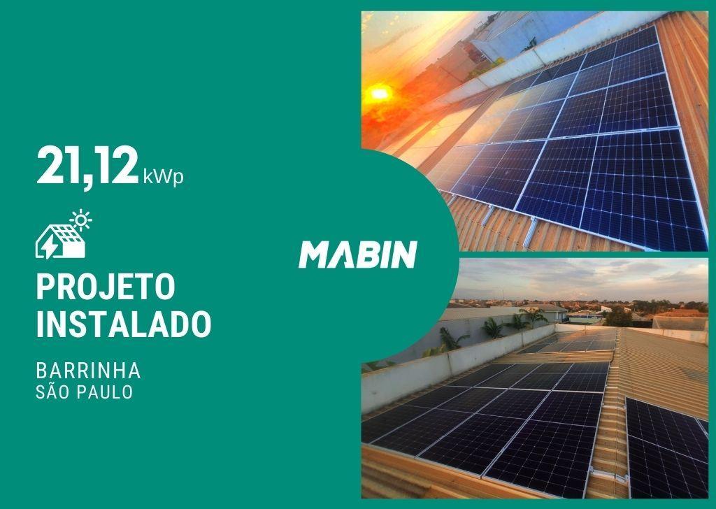 Energia solar em Barrinha/SP, Projeto realizado pela MABIN com capacidade instalada de 21,12kWp, 48 módulos 440W e 01 inversor 20kWp