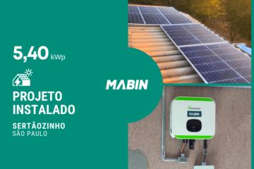 Energia solar em Sertãozinho/SP, Projeto realizado pela MABIN com capacidade instalada de 5,40kWp, 12 módulos 450W e 01 inversor 5kWp