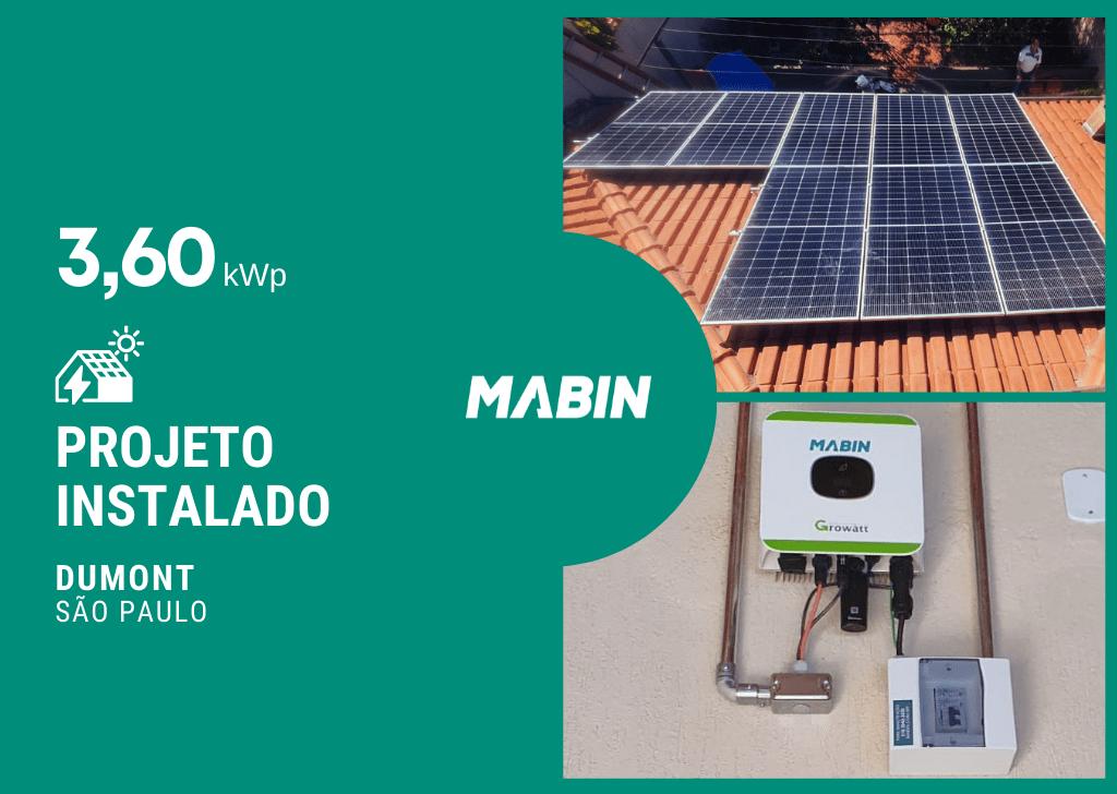 Energia solar em Dumont/SP, Projeto realizado pela MABIN com capacidade instalada de 3,60kWp, 08 módulos 450W e 01 inversor 3kWp