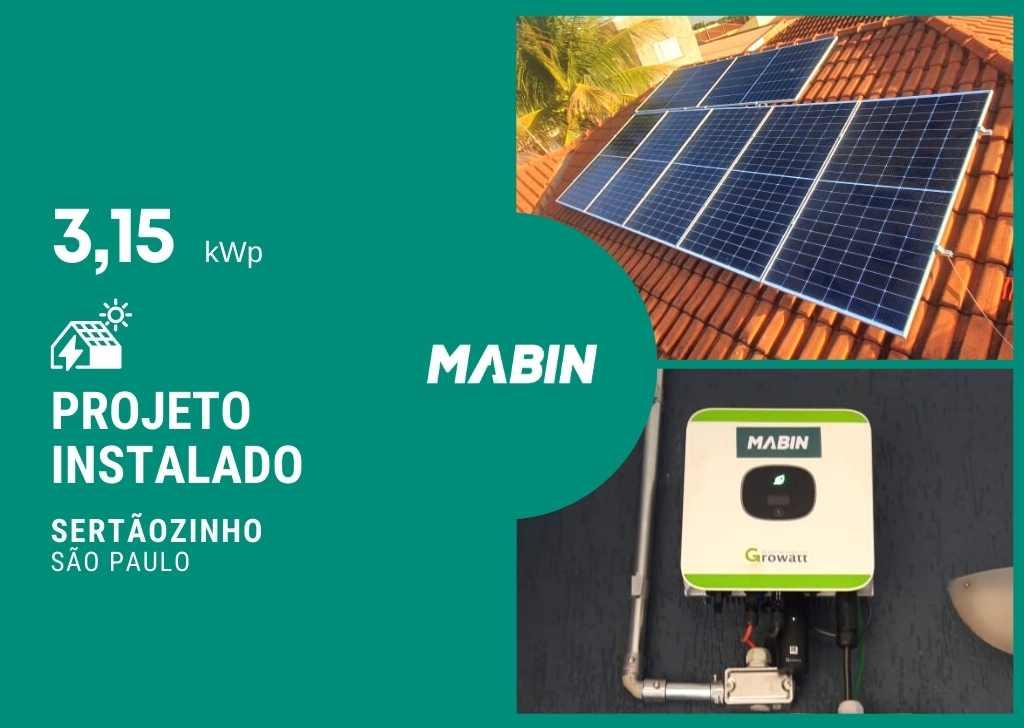 Energia solar em Sertãozinho/SP, Projeto realizado pela MABIN com capacidade instalada de 3,15kWp, 07 módulos 450W e 01 inversor 3kW