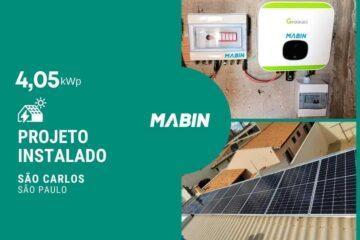 Projeto realizado pela MABIN Energia solar em São Carlos/SP, com capacidade instalada de 4,05kWp, 09 módulos 450W e 01 inversor 5Wp.